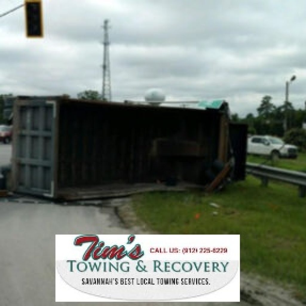 Overturned Chicken Truck Needs Tow Truck Company Services 1